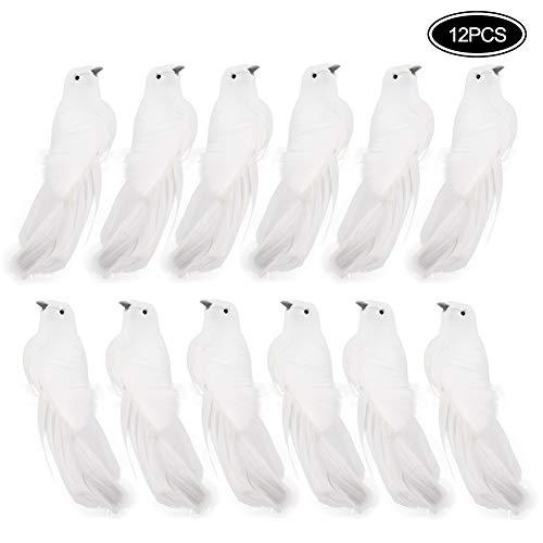LAMF Künstliche Taube Vogel mit Feder 12er Set Deko Fake Tauben mit Clips Weiße Vögel Weihnachten Ornamente für Hochzeit Dekoration Partyzubehör