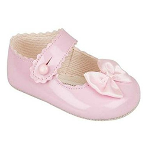 BNIB baby girls Baypod first pram shoes in pink-black - red or white 4 sizes (12-18 months EU size 19, Pink)