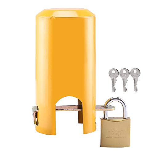 Faucet Lock, Multi-Purpose Protective Cover for tap Faucet and Valve Outdoor,tap Lock Padlock Outdoor Faucet Locking Anti-Theft System (Style A - Small Opening(Yellow))