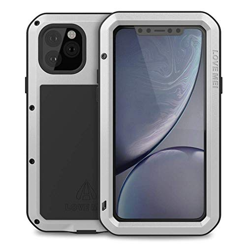 """Bpowe for iPhone 11 Pro Max Case,Super Shockproof Silicone Aluminum Metal Gorilla Glass Armor Tank Heavy Duty Sturdy Protector Cover Hard Case for iPhone 11 Pro Max 6.5"""" 2019 (Silver)"""
