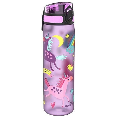 Ion8 Auslaufsichere Schlanke Trinkflasche, BPA-frei, 600ml, Einhörner