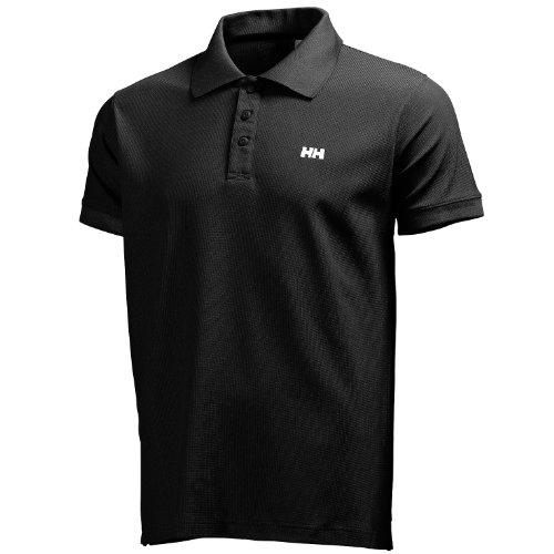 Helly Hansen Driftline Camiseta tipo polo de manga corta con tejido de secado rápido y logo HH en el pecho, Hombre, Negro, XL