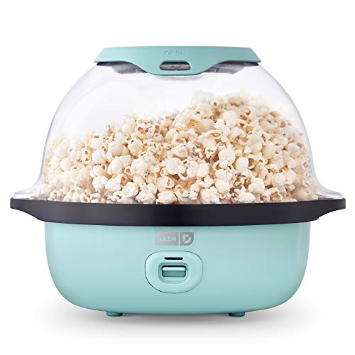 Dash SmartStore™ Deluxe Stirring Popcorn Maker, Hot Oil Electric Popcorn Machine with Large Lid...