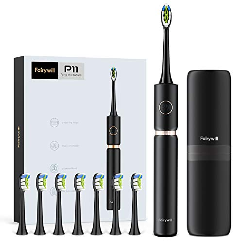 Sonic Whitening Electric Toothbrush - ADA Accepted Rechargeable Electric Toothbrush for Adults Clean, Red Dot Award 2020, Ultra Powerful 62,000 VPC Motor, 8 Heads & 1 Travel Case, Black by Fairywill