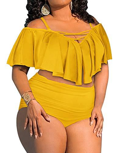 BeachQueen Women's Plus Size Swimsuit Flounce Off Shoulder Bikini Ruched Swimwear Black L