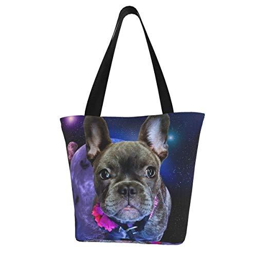 Personalisierte Leinen-Tragetasche, Hund, Französische Bulldogge und Galaxie, waschbare Handtasche, Umhängetasche, Einkaufstasche für Frauen