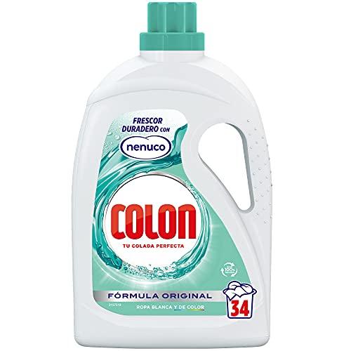 Colon Nenuco - Detergente para lavadora, adecuado para ropa blanca y de color, formato gel - 34 dosis