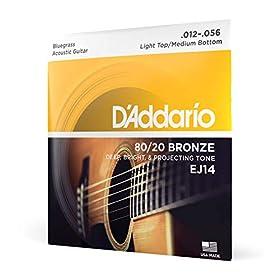 Juego de cuerdas para Guitarra Acústica D'Addario EJ14 80/20 Bronze Medium (12-16-25-35-45-56) Dan una tensión más dura para alcanzar un tono acústico más resonante Ofrecen una resistencia mayor para un rasgueo fuerte y un picking plano Las cuerdas D...
