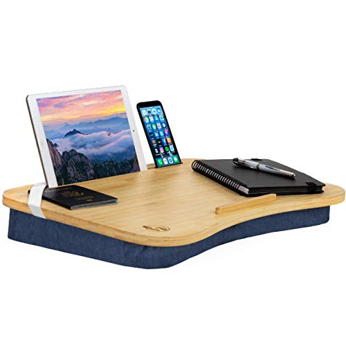"Hultzzzy Lap Desk - Bamboo Surface, Fits up to 17"" Laptops & 15"" Tablets, Pen & Phone Holder - Laptop Stand for Classroom, Students, Adults & Kids - Pillow Cushion Base"