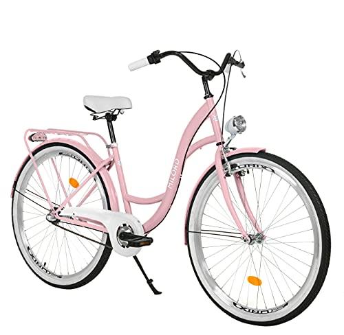 Milord. Komfort Fahrrad mit Gepäckträger, Hollandrad, Damenfahrrad, 3-Gang, Rosa, 26 Zoll