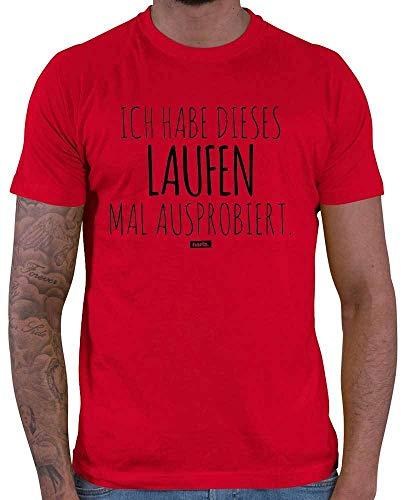 Hariz – Camiseta para hombre, diseño con texto en alemán 'Ich Habe Dieses Laufen Mal probado, running', incluye tarjeta de regalo rojo M