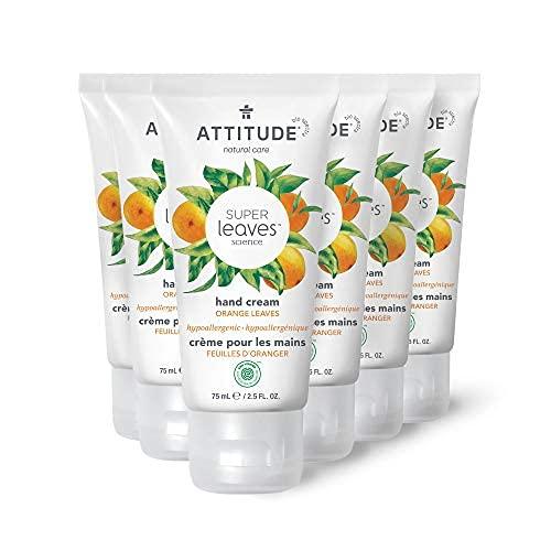 Crema de manos natural calmante para piel seca agrietada, ewg verificada, crema hidratante vegana y libre de crueldad, hojas de naranja..