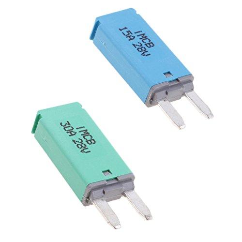 Sharplace 2pcs Voiture ATM Mini Lame Fusible Disjoncteur Manuel Reset Type III - 15A+30A