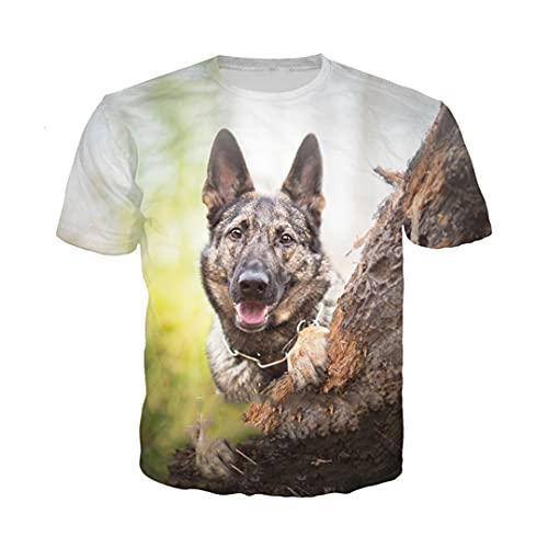 German Shepherd Dog T Shirt Men Women Animal Sweatshirt 3D Print Short Sleeve Hip Hop O Neck Pullover 14 Asia 4XL