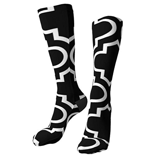 Patrón de Enrejado en Blanco y Negro Calcetines Gruesos cálidos Personalizados Calcetines de Vestir a Media Pierna Calcetines Largos de Invierno Ocasionales para Hombres y Mujeres