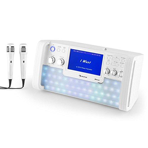 Auna DiscoFever LED - Impianto Karaoke, per Bambini, Bluetooth, 2 Connessioni Microfono, 1 Microfono Dinamico, Effetti LED, Lettore CD+G, Porta USB, Uscita Video, Bianco