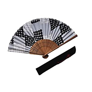 〈紳士用〉ハンカチ扇子(ふくろう柄)、扇子袋(黒色)セット