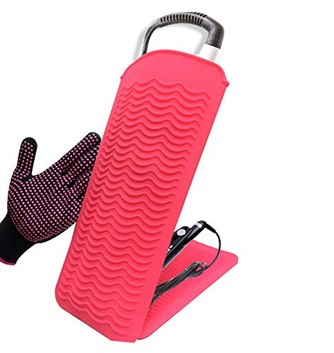 Curling Iron Mat, Heat Resistant Mat Pouch with Heat Resistant Glove for Hair Straightener, Flat...