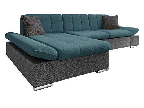 Mirjan24 Ecksofa Malwi mit Regulierbare Armlehnen Design Eckcouch mit Schlaffunktion und Bettkasten, L-Form Sofa vom Hersteller, Couch Wohnlandschaft (Boss 12 + Enzo 155 + Boss 12, Ecksofa: Links)