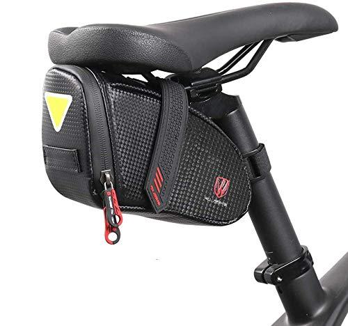 Selighting Bolsa Tija Sillín de Ciclismo, Bicicleta Bolsa Alforja Mochila para Sillín Tija o Asiento Trasero para Bicicletas de Montaña de Carrera (Negro)