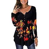 Pabuyafa Blusas de manga larga con cuello en V y estampado floral para mujer, blusa suelta con botones, Naranja Negro, L