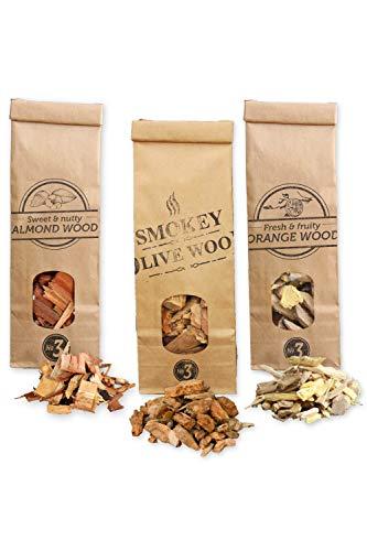 Smokey Olive Wood 3X 500mL selección de virutas de Madera para Barbacoa y ahumar, Olivo + Haya, Naranjo, Almendro