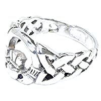 指輪 シルバー925 リング レディース SILVER925 銀 ロイヤルクラウン 19号 王冠 ハート デザインリング ロゴ 平和 ピースマーク デザインリング