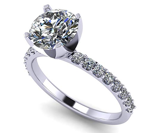 NANA Silver 8.0mm (2ct) Round Cut Zirconia Solitaire Engagement Ring-Platinum Plated-Size 7