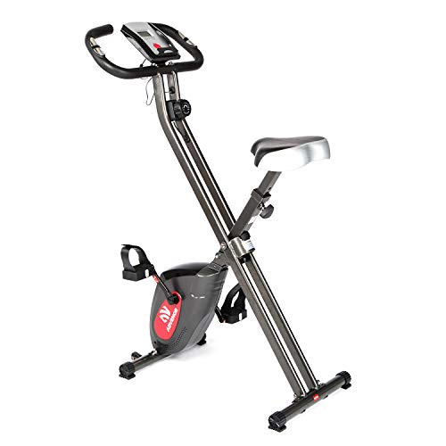ADVENOR Exercise Bike Magnetic Bike Folding Fitness Bike Cycle Workout Home Gym With LCD Monitor Durable Upright Extra-Large Seat Cushion (black&red) by ADVENOR