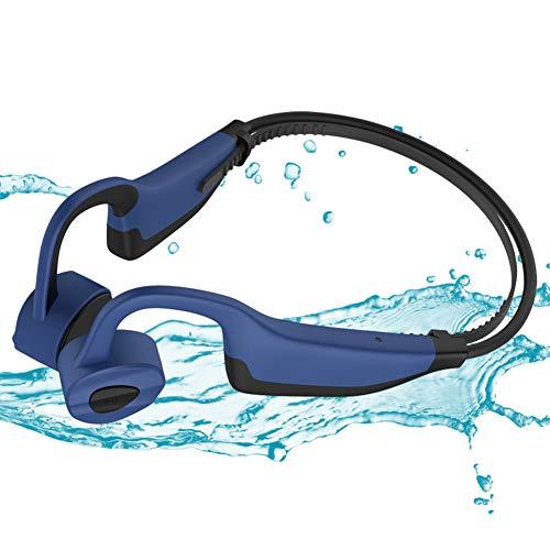 AQUYY Kabellos Kopfhörer Bluetooth 5.0, IPX8 Wasserdicht Ohrhörer zum Schwimmen, Sport MP3 Musikplayer Headset mit 16G-Speicher, Knochenschall Sportkopfhörer für Laufen Radfahren Fitness Dark Blue