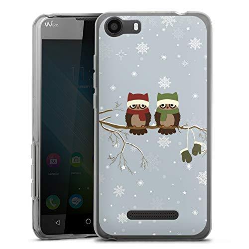 DeinDesign Silikon Hülle kompatibel mit Wiko Lenny 2 Hülle transparent Handyhülle Eule Schnee Weihnachten