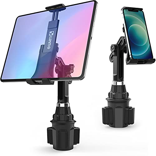 LUXMO Cup Holder Tablet Mount Phone Holder 2-in-1 for Car Truck Tablet Mount Adjustable Neck Extended Holder for Cell Phone iPhone Google Tablet iPad Air/Mini/Pro Samsung Galaxy Tablets