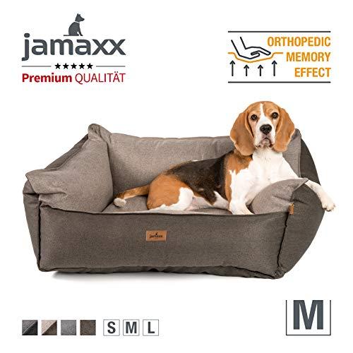 JAMAXX Premium Hundebett - Orthopädisch Memory Visco Füllung, Extra-Hohe Ränder, Waschbar, Nässe-Schutz, Hochwertiger Stoff mit viel Eleganz, Hundesofa PDB2018 (M) 90x70 braun+beige