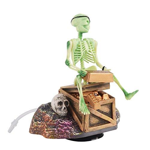 Saim Aquarium Decor Pirate Skeletons & Gold Treasures Air-Driven Action Moving Up-and-Down Skeleton Aquarium Ornaments
