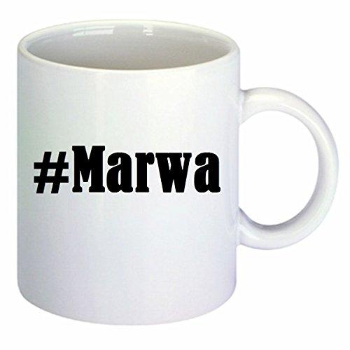 taza para café #Marwa Hashtag Raute Cerámica Altura 9.5 cm diámetro de 8 cm de Blanco