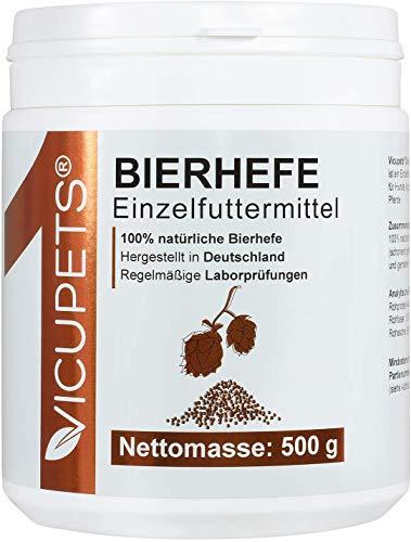 Vicupets® ONE Bierhefe Pulver für Hunde, Katzen & Pferde I Einfache Alternative zu Flocken I Bierhefetabletten I 500g I Made in Germany
