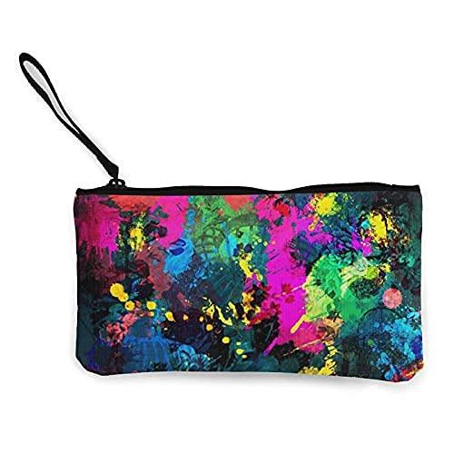 1 x Federmäppchen aus Segeltuch, Kosmetiktasche, Make-up-Tasche, niedlich, für Bleistifte, Geld, gebunden, gefärbt, Graffiti.