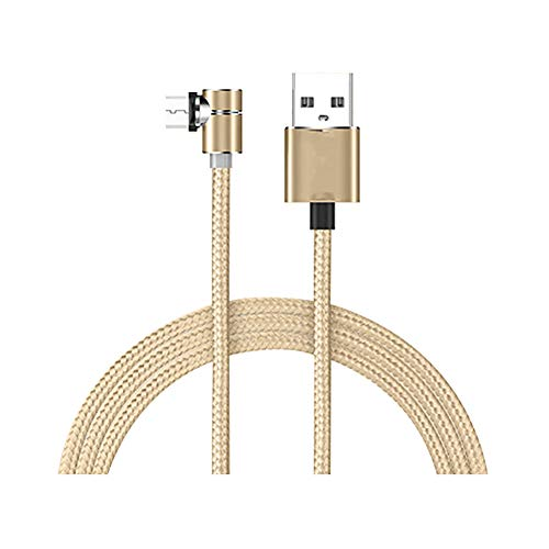 Cable de carga para teléfono multi rápido y cable de carga magnético universal LED para iPhone Android Micro USB tipo C compatible con la mayoría de teléfonos inteligentes con conexión de cargador de coche, dorado