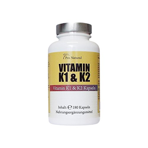 Vitamin K1 & K2 hochdosiert – 180 vegane Kapseln: 1000 µg Vitamin K1 und K2 Menaquinon MK -7 Form 200 µg pro Kapsel