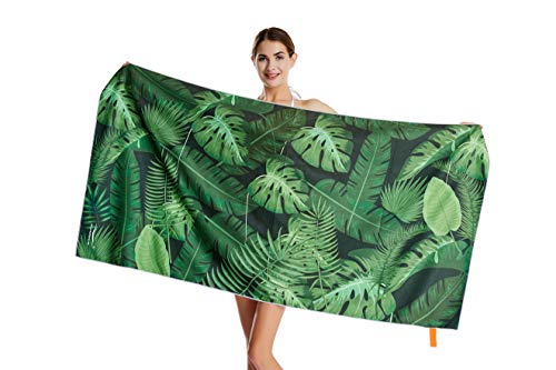"CHARS Microfiber Quick Drying Beach Towel (30"" x 60"") with a Carrying Bag, Absorbent, Sand-Free, Lightweight for Kids, Teens, Adults, Travel, Gym, Camping, Pool, Yoga, Outdoor and Picnic (Green Leaf)"