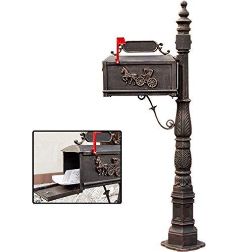 ETFJK Regendicht Postbox Nistkästen im Garten und im Freien stehenden Mailbox Retro Heavy Duty Kreative Mailbox Gussaluminium,Bronze,Carriagepattern