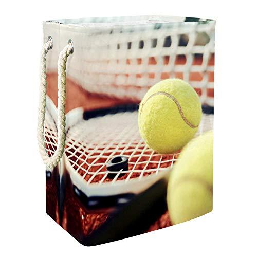 Yoliveya Cesta plegable para la colada de 19 pulgadas, resistente al agua, ideal para dormitorio, lavandería, baño, red de raquetas de tenis