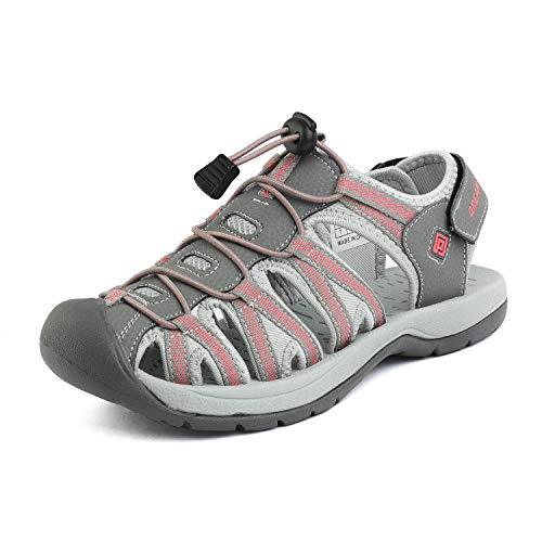 DREAM PAIRS Women's 160912-W-New Grey Coral Adventurous Summer Outdoor Sandals Size 10 M US