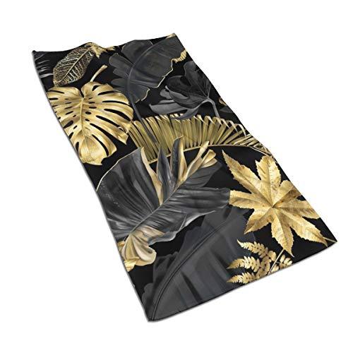 N/A Aquarell-Kunstdruck-Badetücher aus ägyptischer Baumwolle, Handtuch-Set, ultra-saugfähig, für Reisen, Sport, Gold, Schwarz, tropische Blätter, 69,8 x 39,9 cm