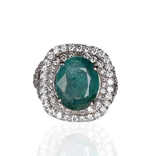 Anillo esmeralda verde colombiano natural, anillo de corte oval Plata de ley 925 mayo Birthstone para regalo boda y compromiso