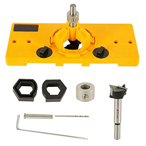 Hinge Hole Saw Jig Drilling,35mm Drill Set Hinge Hole Saw Jig Drilling Guide Locator Hole Opener with Depth Stop,DIY Tool Set (Yellow)