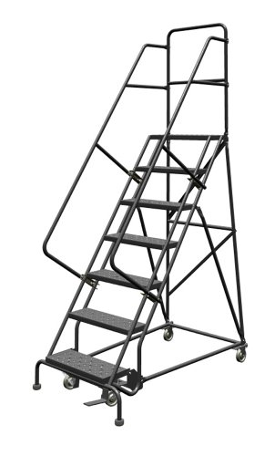 Tri-Arc KDSR107246 7-Step Steel Rolling Industrial and Warehouse Ladder with Handrails and 24
