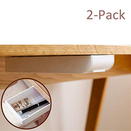 Desk Pencil Drawer Organizer, Large Capacity Pop-Up Student Storage Hidden Desktop Drawer Tray, Great for Office School Home Desk (White, 2-Pack)