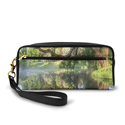 Pencil Case Pen Bag Pouch Stationary,Mirror Surface of The Pond with A Haze of Fog Branches Stretched Over The Water,Small Makeup Bag Coin Purse