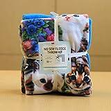 Cats on Cats Anti-Pill No-Sew Throw Fleece Fabric Kit (50x60)